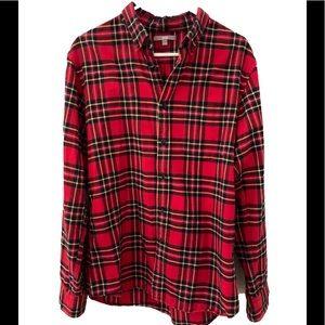 Uniqlo Red Tartan Plaid Warm Cotton Bttn Dwn Sz L